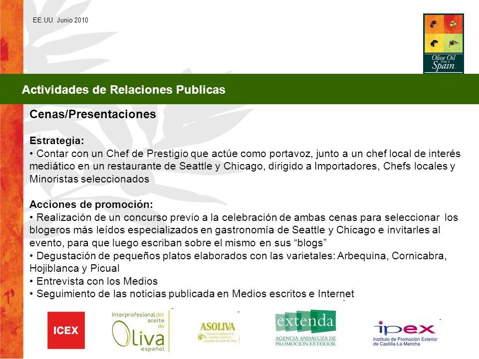 EE.UU. Junio 2010 Actividades de Relaciones Publicas Cenas/Presentaciones Estrategia: Contar con un Chef de Prestigio que actúe como portavoz, junto a