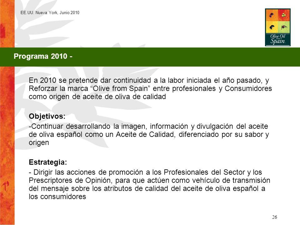 EE.UU. Nueva York, Junio 2010 26 En 2010 se pretende dar continuidad a la labor iniciada el año pasado, y Reforzar la marca Olive from Spain entre pro
