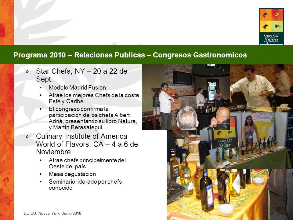 EE.UU. Nueva York, Junio 2010 29 »Star Chefs, NY – 20 a 22 de Sept. Modelo Madrid Fusion Atrae los mejores Chefs de la costa Este y Caribe El congreso