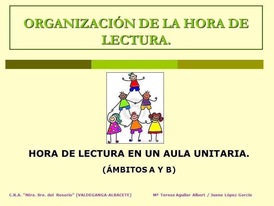 ORGANIZACIÓN DE LA HORA DE LECTURA. HORA DE LECTURA EN UN AULA UNITARIA. (ÁMBITOS A Y B) C.R.A. Ntra. Sra. del Rosario (VALDEGANGA-ALBACETE) Mª Teresa