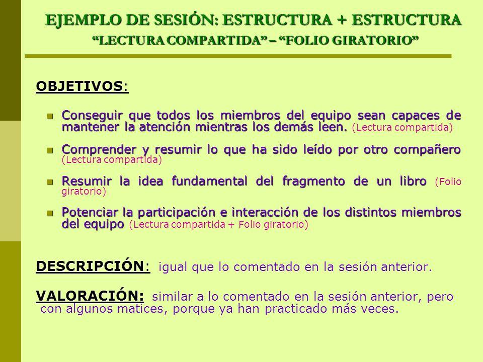 EJEMPLO DE SESIÓN: ESTRUCTURA + ESTRUCTURA LECTURA COMPARTIDA – FOLIO GIRATORIO OBJETIVOS OBJETIVOS: Conseguir que todos los miembros del equipo sean
