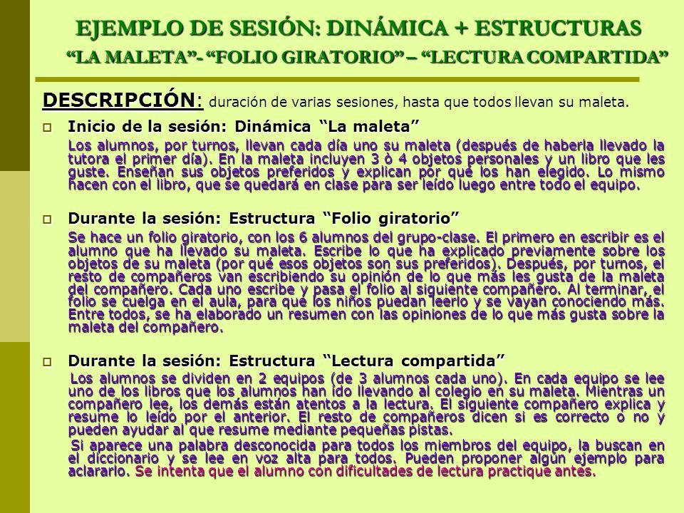 EJEMPLO DE SESIÓN: DINÁMICA + ESTRUCTURAS LA MALETA- FOLIO GIRATORIO – LECTURA COMPARTIDA DESCRIPCIÓN DESCRIPCIÓN: duración de varias sesiones, hasta