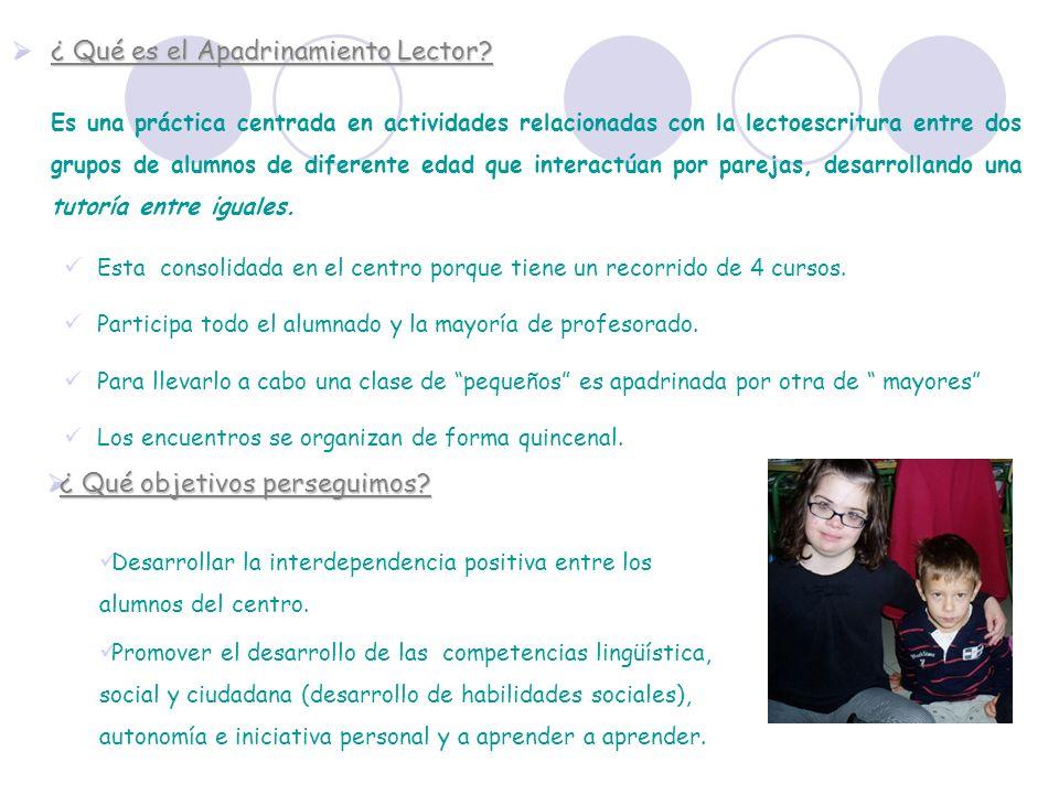 ¿ Qué es el Apadrinamiento Lector? ¿ Qué es el Apadrinamiento Lector? Es una práctica centrada en actividades relacionadas con la lectoescritura entre