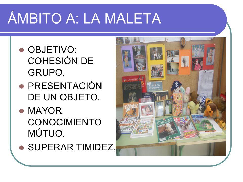 ÁMBITO A: LA MALETA OBJETIVO: COHESIÓN DE GRUPO. PRESENTACIÓN DE UN OBJETO. MAYOR CONOCIMIENTO MÚTUO. SUPERAR TIMIDEZ.