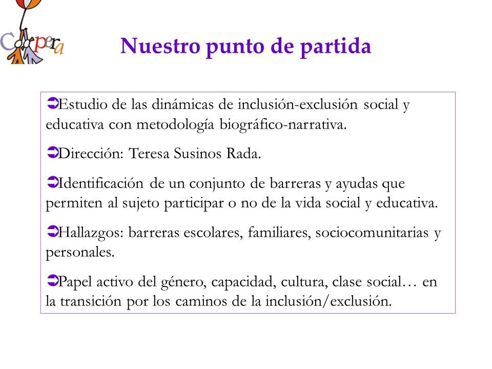Nuestro punto de partida Estudio de las dinámicas de inclusión-exclusión social y educativa con metodología biográfico-narrativa. Dirección: Teresa Su