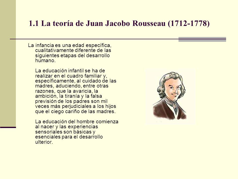 1.1 La teoría de Juan Jacobo Rousseau (1712-1778) La infancia es una edad específica, cualitativamente diferente de las siguientes etapas del desarrol