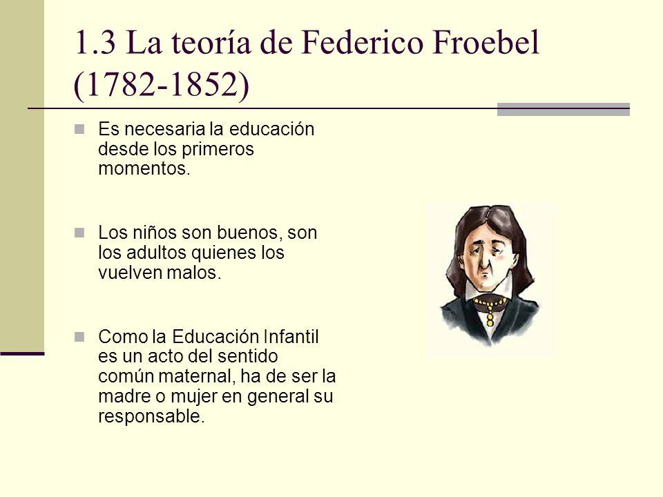 1.3 La teoría de Federico Froebel (1782-1852) Es necesaria la educación desde los primeros momentos. Los niños son buenos, son los adultos quienes los