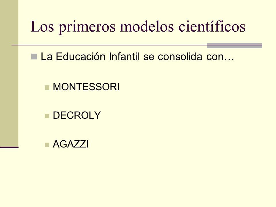 Los primeros modelos científicos La Educación Infantil se consolida con… MONTESSORI DECROLY AGAZZI