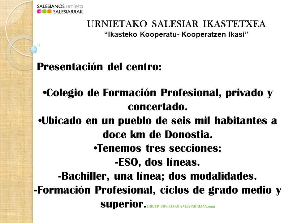 Presentación del centro: Colegio de Formación Profesional, privado y concertado.