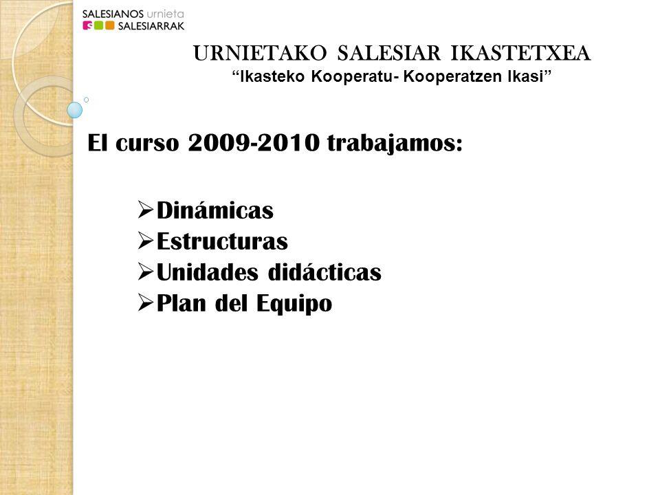 El curso 2009-2010 trabajamos: Dinámicas Estructuras Unidades didácticas Plan del Equipo URNIETAKO SALESIAR IKASTETXEA Ikasteko Kooperatu- Kooperatzen Ikasi