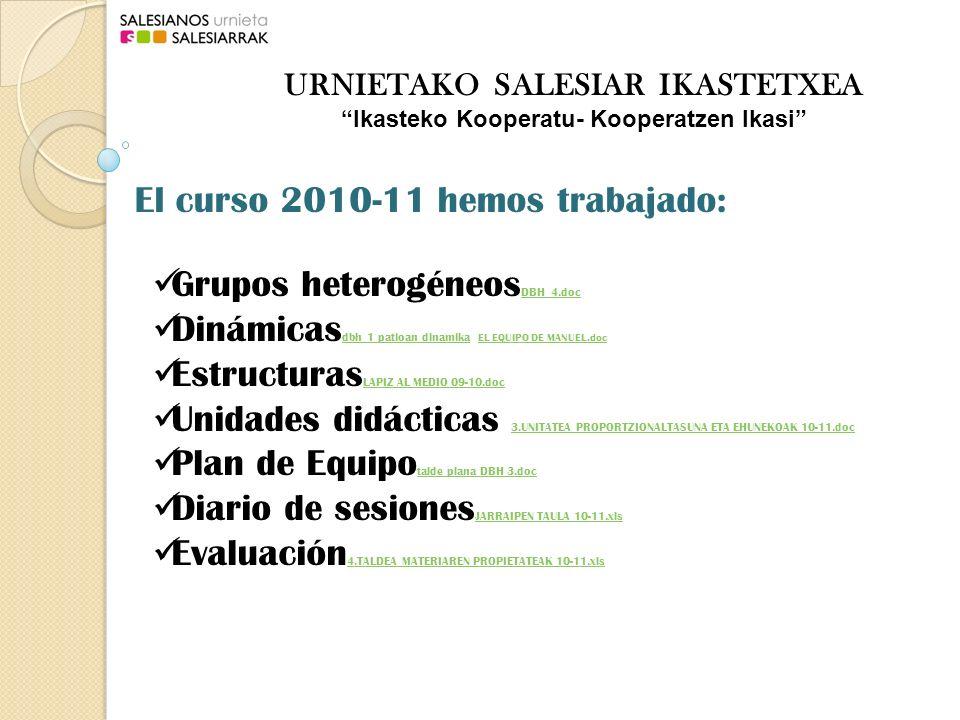 Grupos heterogéneos DBH 4.doc DBH 4.doc Dinámicas dbh 1 patioan dinamika EL EQUIPO DE MANUEL.doc dbh 1 patioan dinamika EL EQUIPO DE MANUEL.doc Estructuras LAPIZ AL MEDIO 09-10.doc LAPIZ AL MEDIO 09-10.doc Unidades didácticas 3.UNITATEA PROPORTZIONALTASUNA ETA EHUNEKOAK 10-11.doc 3.UNITATEA PROPORTZIONALTASUNA ETA EHUNEKOAK 10-11.doc Plan de Equipo talde plana DBH 3.doc talde plana DBH 3.doc Diario de sesiones JARRAIPEN TAULA 10-11.xls JARRAIPEN TAULA 10-11.xls Evaluación 4.TALDEA MATERIAREN PROPIETATEAK 10-11.xls 4.TALDEA MATERIAREN PROPIETATEAK 10-11.xls El curso 2010-11 hemos trabajado: URNIETAKO SALESIAR IKASTETXEA Ikasteko Kooperatu- Kooperatzen Ikasi