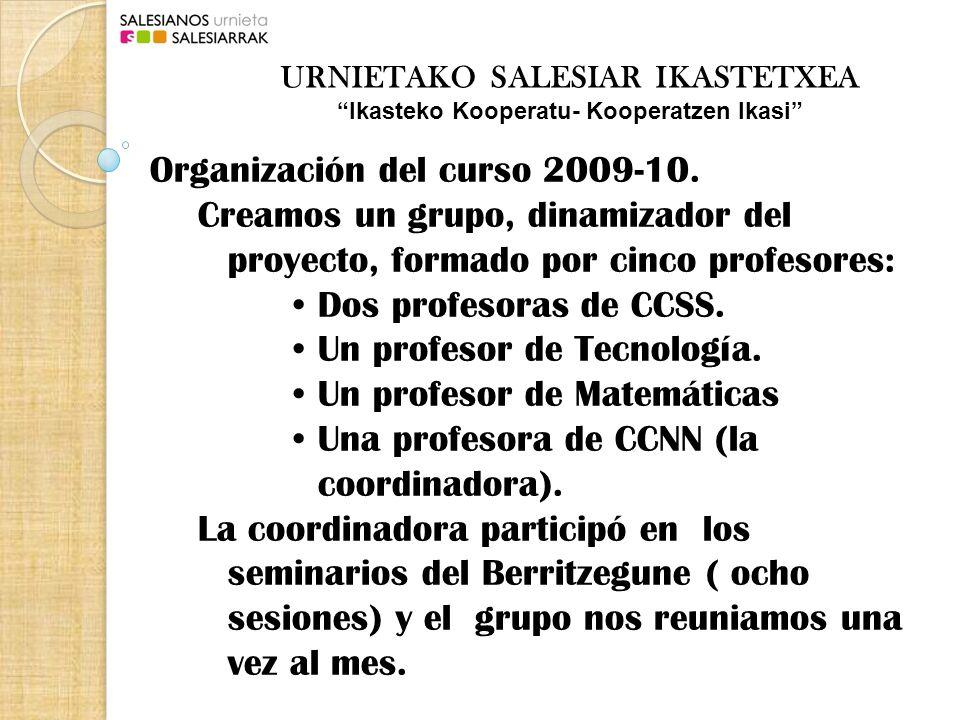 Organización del curso 2010-11.Grupo dinamizador del proyecto formado por: Dos profesoras de CCSS.