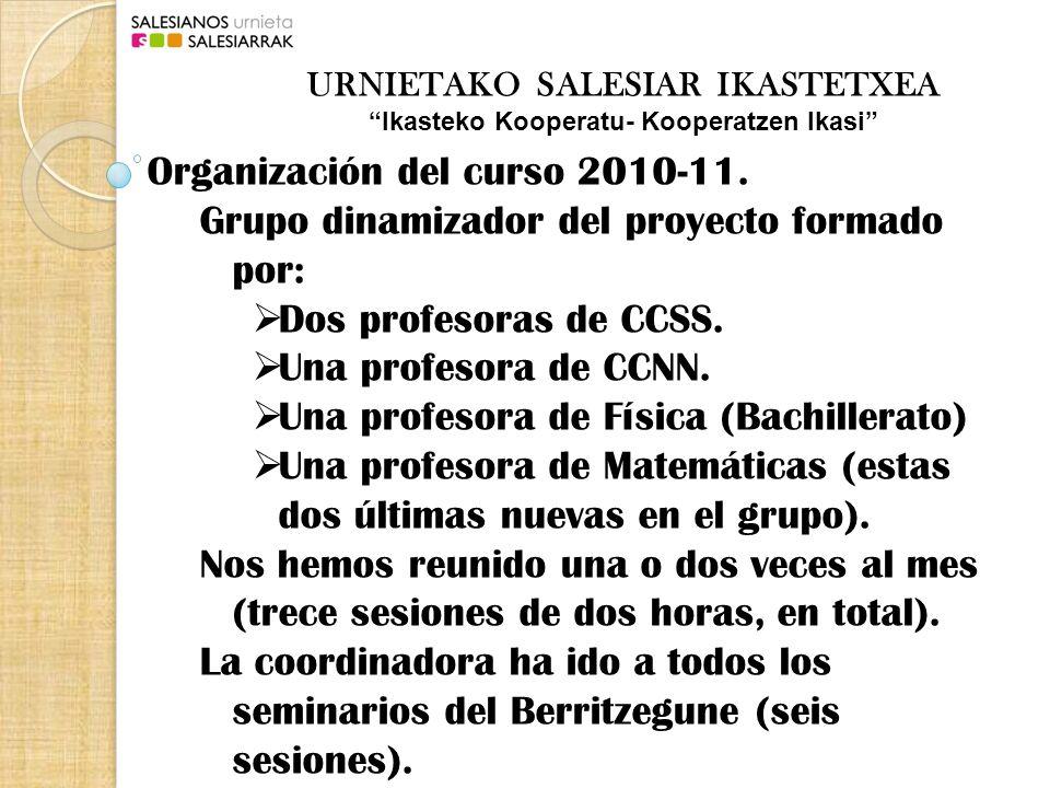 Organización del curso 2010-11. Grupo dinamizador del proyecto formado por: Dos profesoras de CCSS.