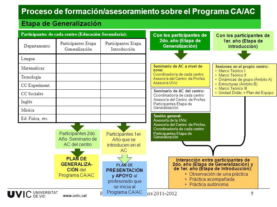 Programa CA/AC. Curs 2011-20125 www.uvic.cat Etapa de Generalización Proceso de formación/asesoramiento sobre el Programa CA/AC PLAN DE GENERALIZA- CI