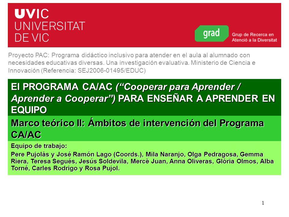 Programa CA/AC. Curso 2011-20121 El PROGRAMA CA/AC (Cooperar para Aprender / Aprender a Cooperar) PARA ENSEÑAR A APRENDER EN EQUIPO Proyecto PAC: Prog