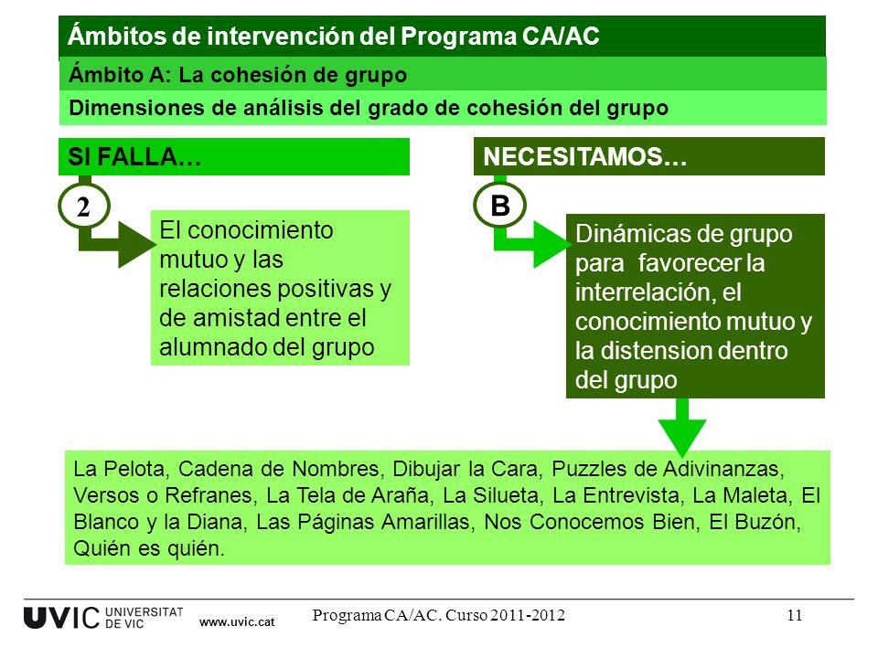 Programa CA/AC. Curso 2011-201211 La Pelota, Cadena de Nombres, Dibujar la Cara, Puzzles de Adivinanzas, Versos o Refranes, La Tela de Araña, La Silue