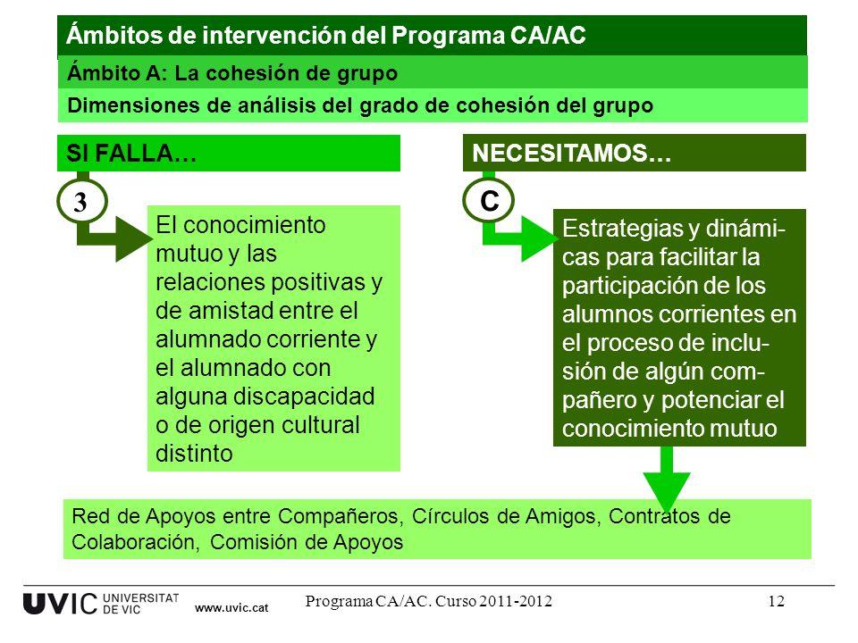 Programa CA/AC. Curso 2011-201212 Red de Apoyos entre Compañeros, Círculos de Amigos, Contratos de Colaboración, Comisión de Apoyos El conocimiento mu