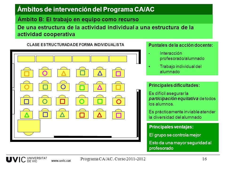 Programa CA/AC. Curso 2011-201216 www.uvic.cat De una estructura de la actividad individual a una estructura de la actividad cooperativa Principales v