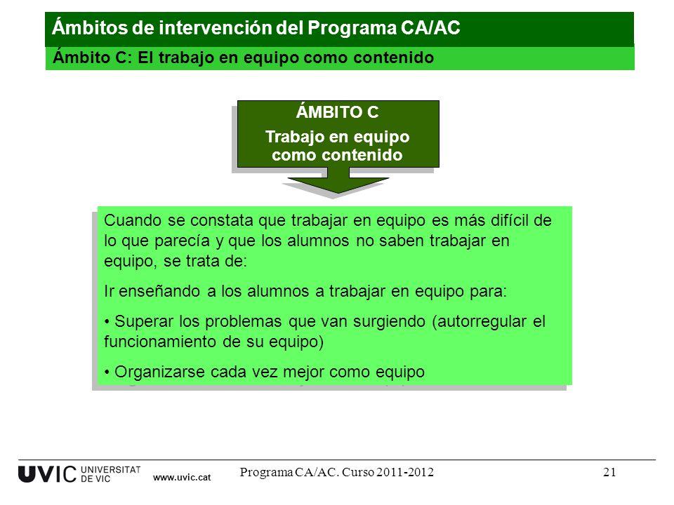 Programa CA/AC. Curso 2011-201221 www.uvic.cat Ámbito C: El trabajo en equipo como contenido Ámbitos de intervención del Programa CA/AC ÁMBITO C Traba