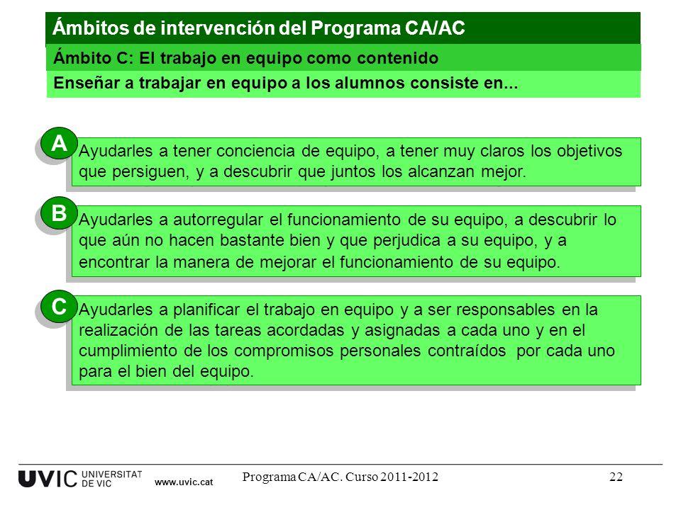 Programa CA/AC. Curso 2011-201222 www.uvic.cat Enseñar a trabajar en equipo a los alumnos consiste en... Ayudarles a tener conciencia de equipo, a ten