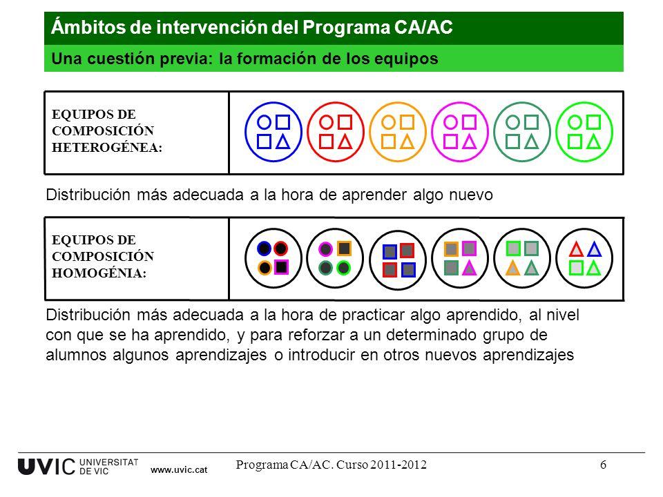 Programa CA/AC. Curso 2011-20126 www.uvic.cat EQUIPOS DE COMPOSICIÓN HOMOGÉNIA: Ámbitos de intervención del Programa CA/AC Una cuestión previa: la for