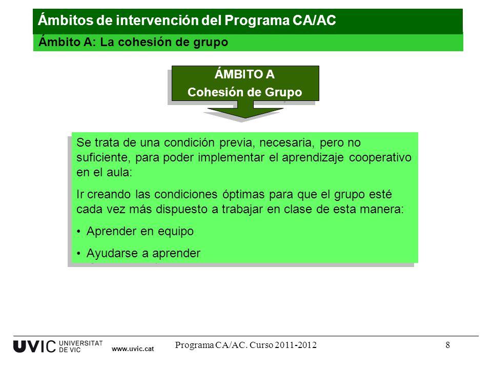 Programa CA/AC. Curso 2011-20128 www.uvic.cat Ámbito A: La cohesión de grupo Ámbitos de intervención del Programa CA/AC ÁMBITO A Cohesión de Grupo ÁMB