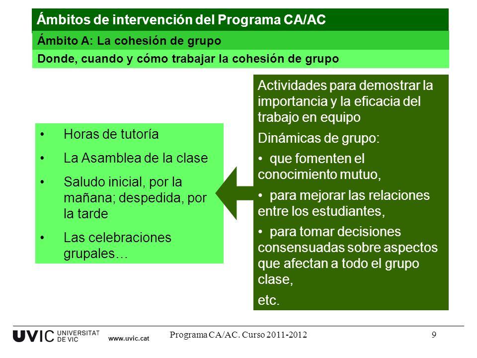 Programa CA/AC. Curso 2011-20129 www.uvic.cat Donde, cuando y cómo trabajar la cohesión de grupo Ámbitos de intervención del Programa CA/AC Ámbito A: