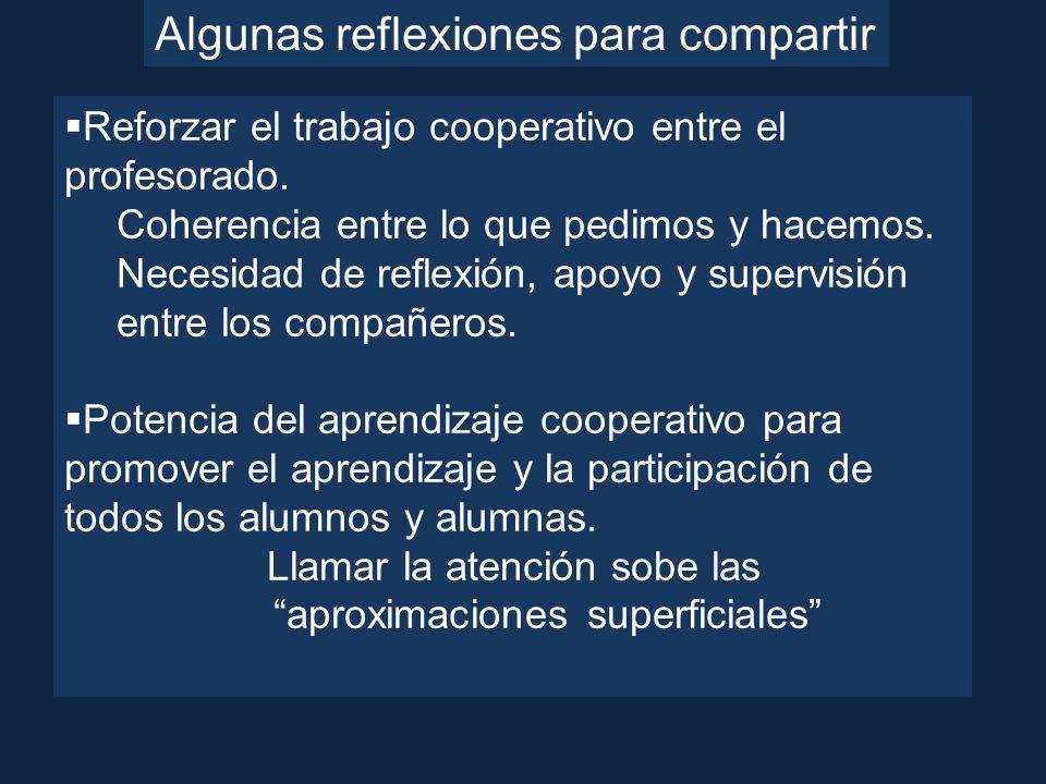 Algunas reflexiones para compartir Reforzar el trabajo cooperativo entre el profesorado. Coherencia entre lo que pedimos y hacemos. Necesidad de refle