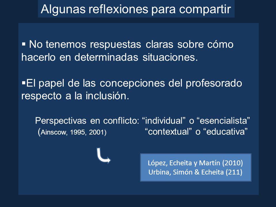 Urbina, Simón & Echeita (2011) Sobre las concepciones