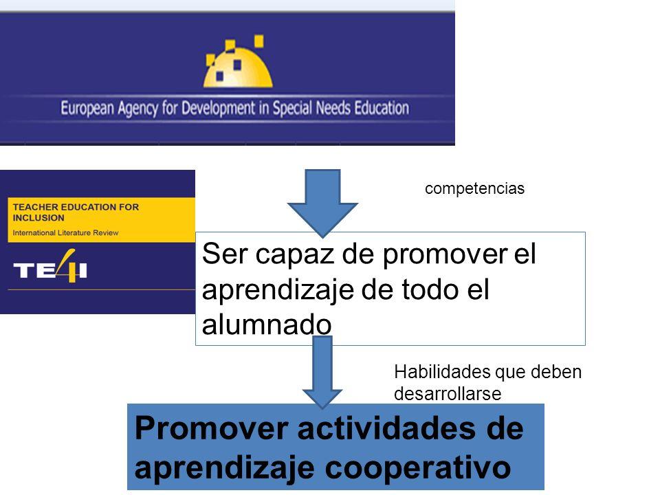 Ser capaz de promover el aprendizaje de todo el alumnado Promover actividades de aprendizaje cooperativo competencias Habilidades que deben desarrolla