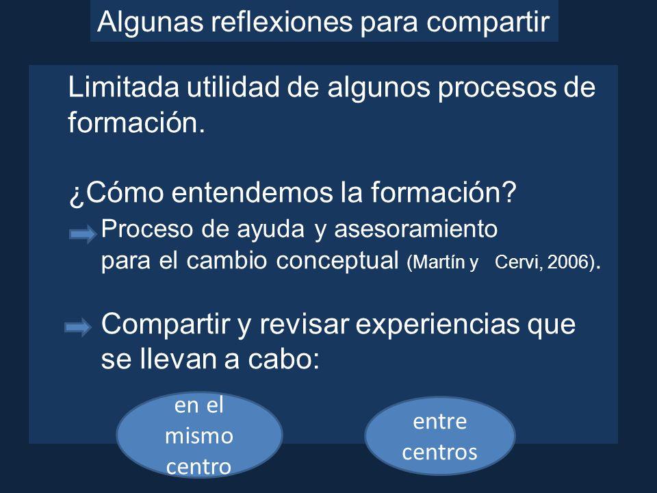 Algunas reflexiones para compartir Limitada utilidad de algunos procesos de formación. ¿Cómo entendemos la formación? Proceso de ayuda y asesoramiento