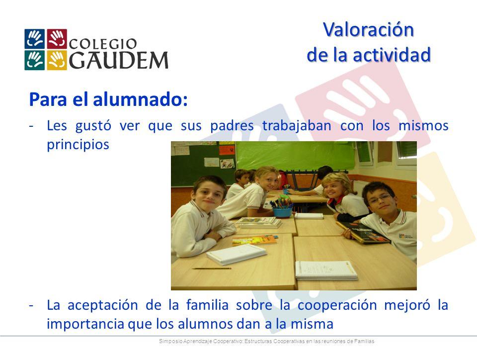 Para el alumnado: -Les gustó ver que sus padres trabajaban con los mismos principios -La aceptación de la familia sobre la cooperación mejoró la impor