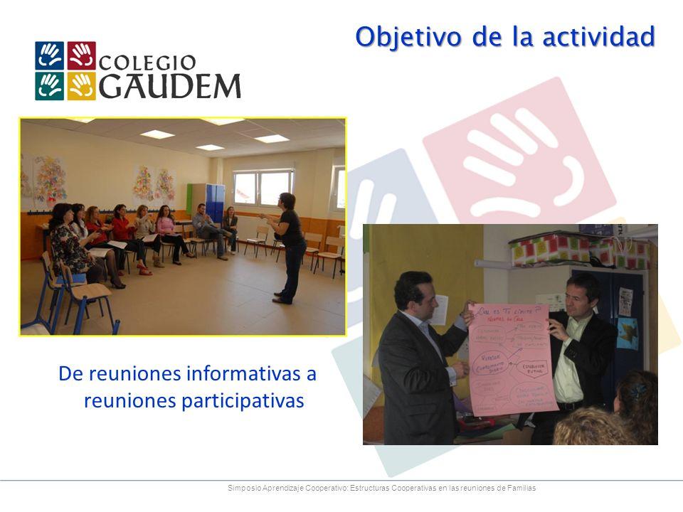 Objetivo de la actividad De reuniones informativas a reuniones participativas Simposio Aprendizaje Cooperativo: Estructuras Cooperativas en las reunio