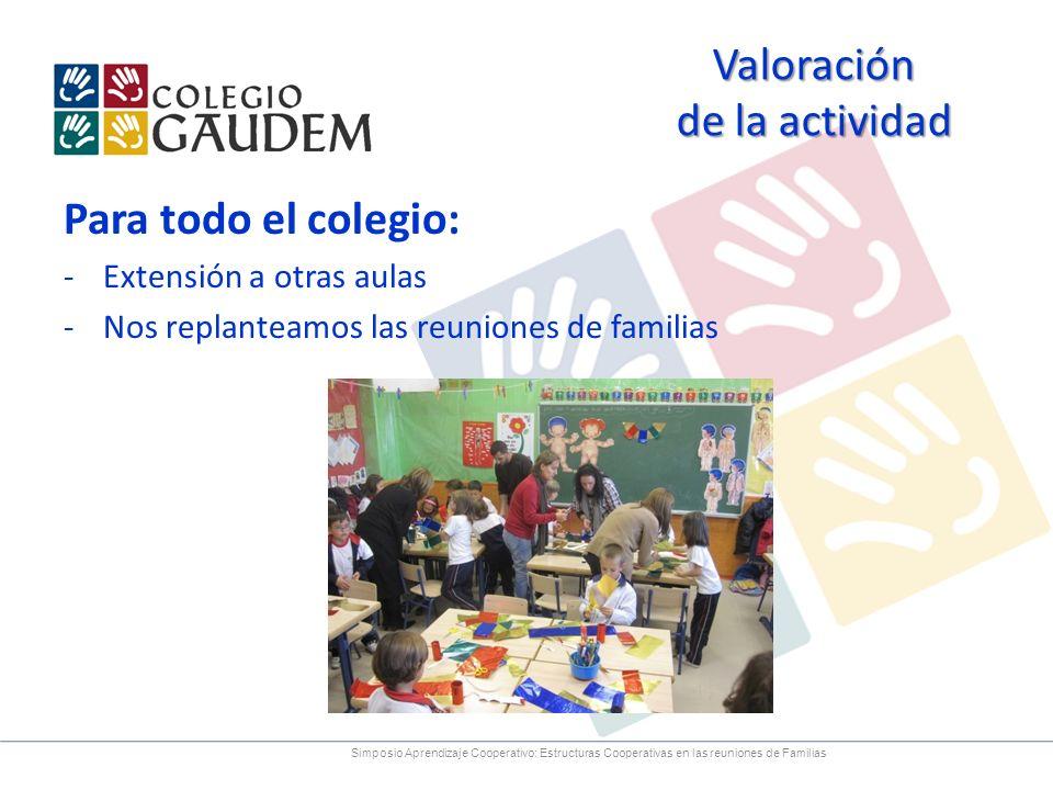 Valoración de la actividad Para todo el colegio: -Extensión a otras aulas -Nos replanteamos las reuniones de familias Simposio Aprendizaje Cooperativo