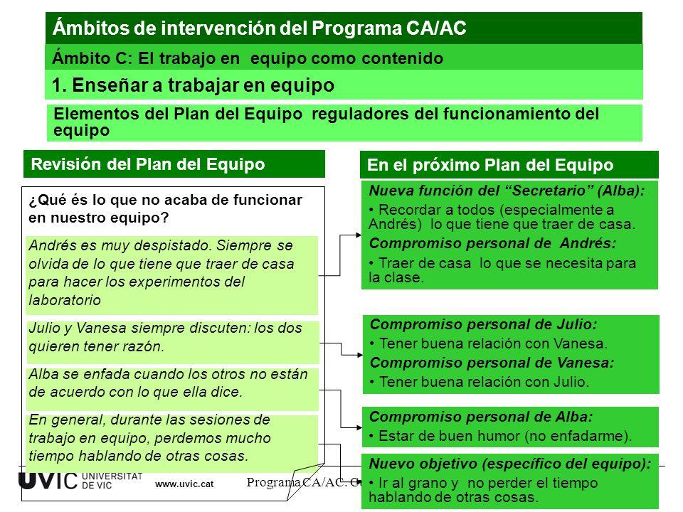 Programa CA/AC. Curso 2011-12 18 www.uvic.cat Nuevo objetivo (específico del equipo): Ir al grano y no perder el tiempo hablando de otras cosas. Compr