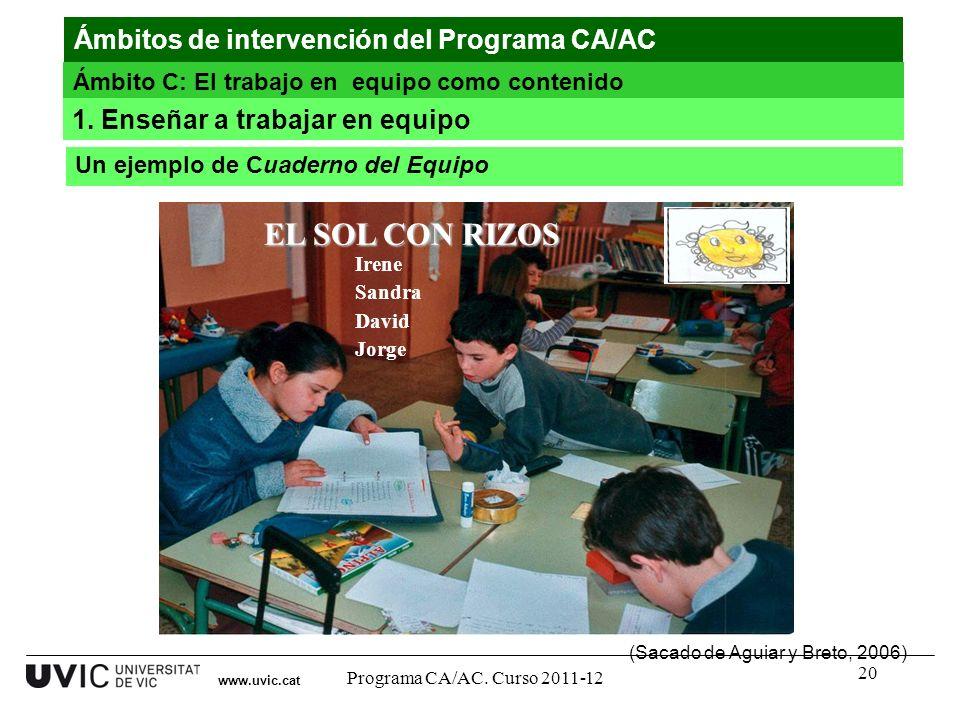 20 www.uvic.cat EL SOL CON RIZOS Irene Sandra David Jorge (Sacado de Aguiar y Breto, 2006) Ámbitos de intervención del Programa CA/AC Ámbito C: El tra