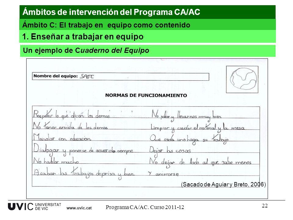 22 www.uvic.cat (Sacado de Aguiar y Breto, 2006) Ámbitos de intervención del Programa CA/AC Ámbito C: El trabajo en equipo como contenido Un ejemplo d