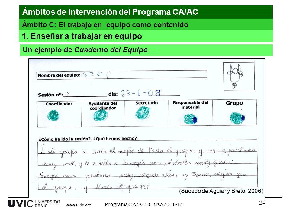 24 www.uvic.cat (Sacado de Aguiar y Breto, 2006) Ámbitos de intervención del Programa CA/AC Ámbito C: El trabajo en equipo como contenido Un ejemplo d