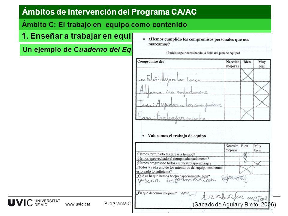 Programa CA/AC. Curso 2011-12 Un ejemplo de Cuaderno del Equipo 1. Enseñar a trabajar en equipo 26 www.uvic.cat (Sacado de Aguiar y Breto, 2006) Ámbit