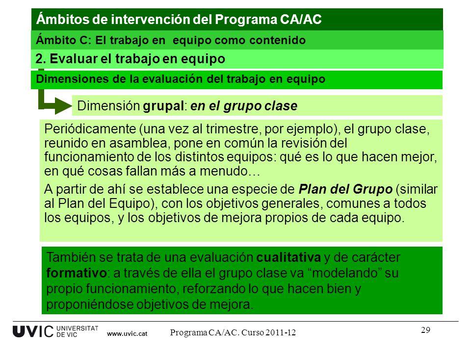 29 Dimensión grupal: en el grupo clase www.uvic.cat 2. Evaluar el trabajo en equipo Dimensiones de la evaluación del trabajo en equipo Periódicamente