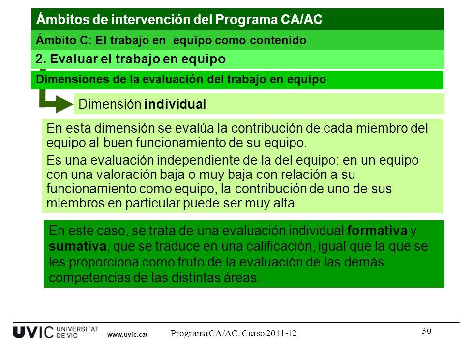 30 Dimensión individual www.uvic.cat 2. Evaluar el trabajo en equipo Dimensiones de la evaluación del trabajo en equipo En este caso, se trata de una