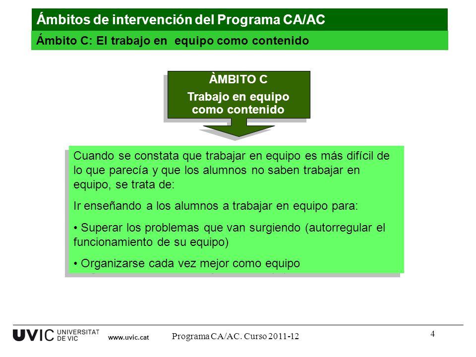 4 www.uvic.cat Ámbitos de intervención del Programa CA/AC Ámbito C: El trabajo en equipo como contenido Cuando se constata que trabajar en equipo es m