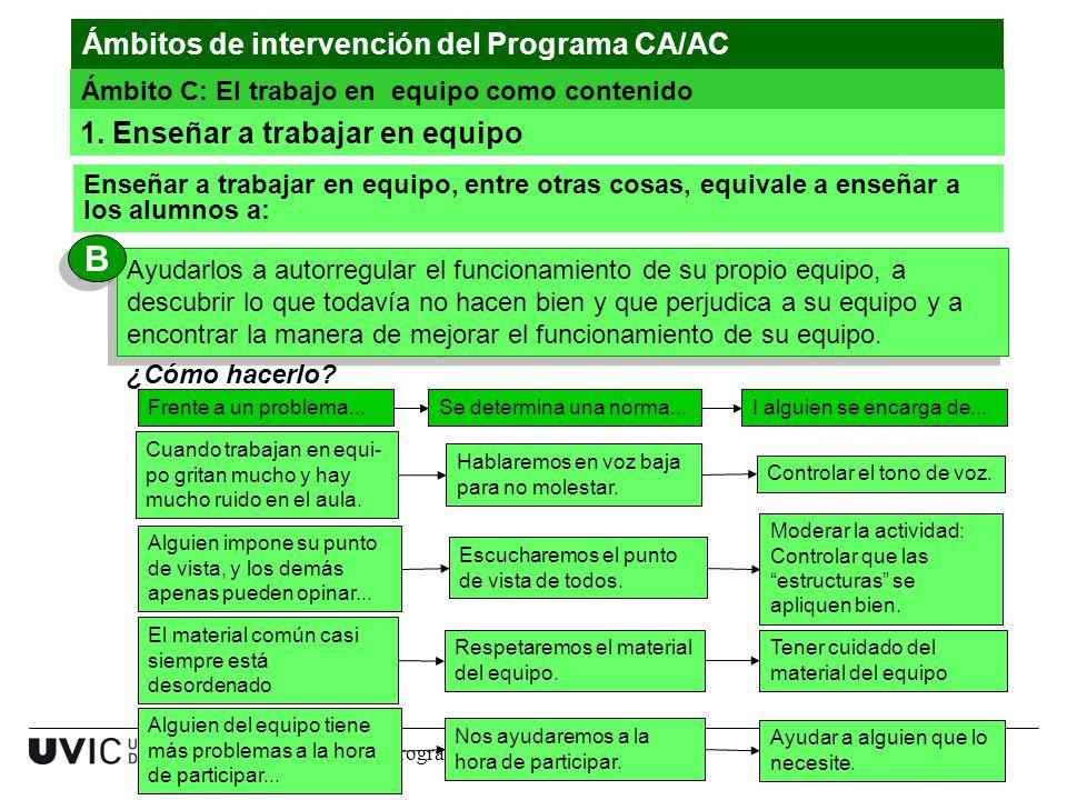 9 www.uvic.cat Ámbitos de intervención del Programa CA/AC Ámbito C: El trabajo en equipo como contenido Enseñar a trabajar en equipo, entre otras cosa