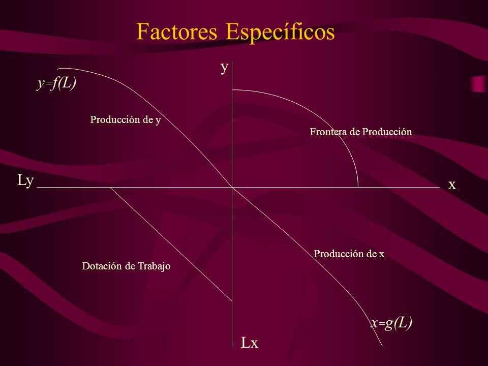 Factores Específicos x y Ly Lx y = f(L) x = g(L) Frontera de Producción Dotación de Trabajo Producción de y Producción de x