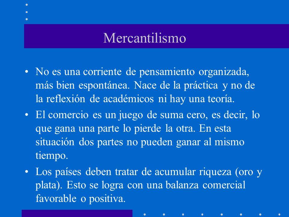 Mercantilismo No es una corriente de pensamiento organizada, más bien espontánea. Nace de la práctica y no de la reflexión de académicos ni hay una te