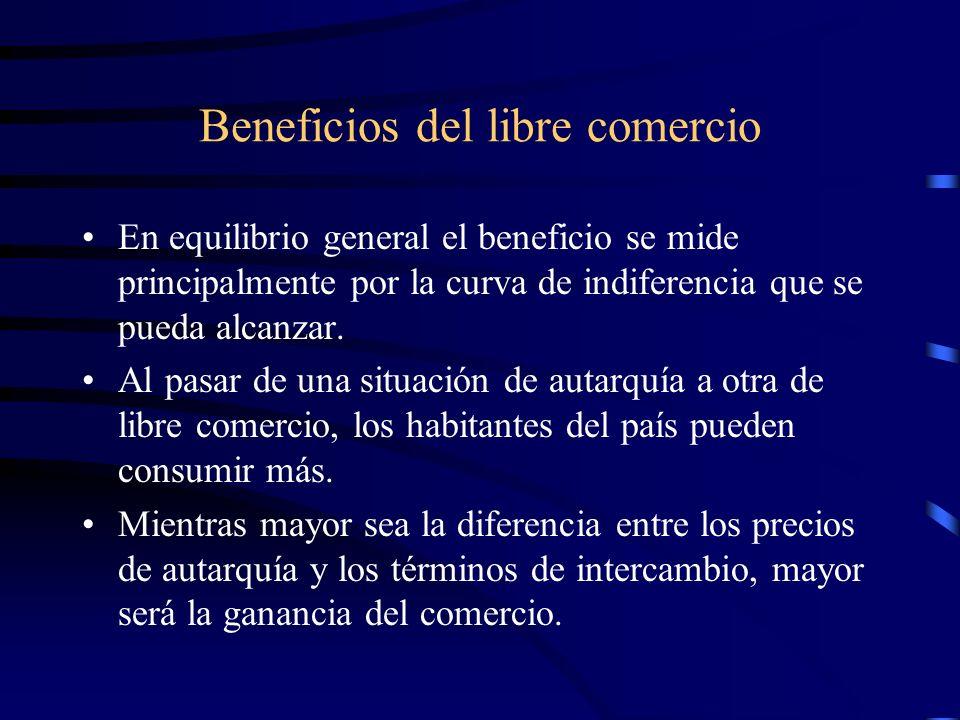 Beneficios del libre comercio En equilibrio general el beneficio se mide principalmente por la curva de indiferencia que se pueda alcanzar. Al pasar d