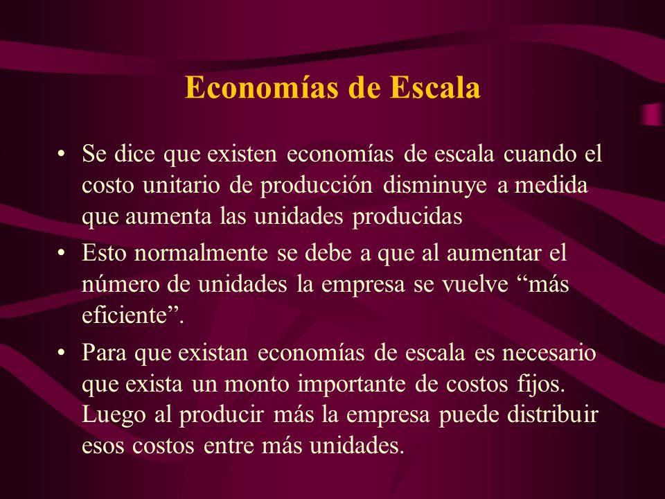 Economías de Escala Se dice que existen economías de escala cuando el costo unitario de producción disminuye a medida que aumenta las unidades produci
