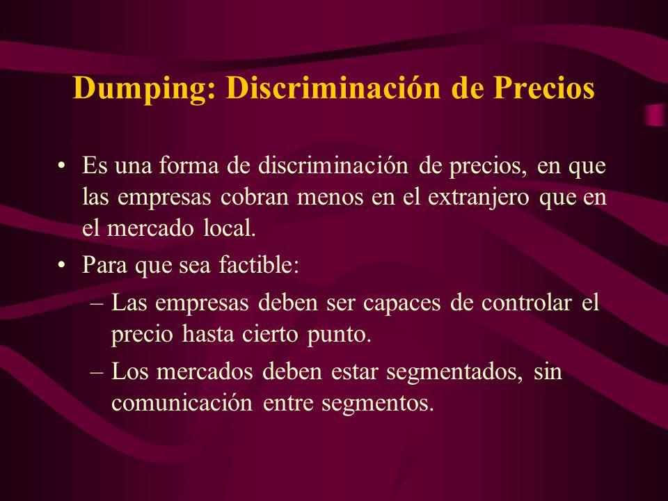 Dumping: Discriminación de Precios Es una forma de discriminación de precios, en que las empresas cobran menos en el extranjero que en el mercado loca