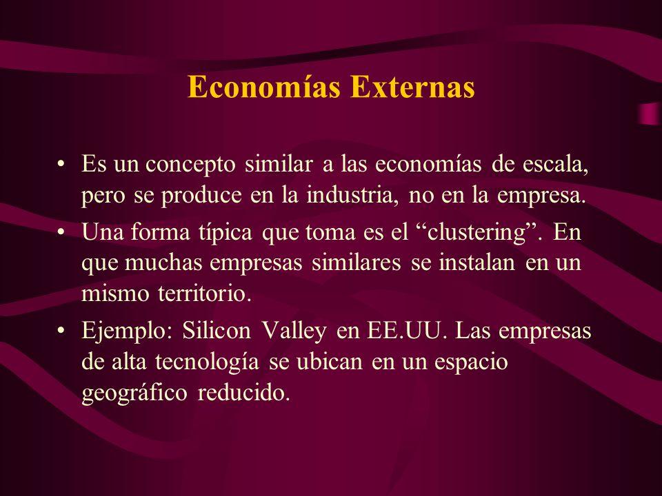 Economías Externas Hay al menos tres factores que ayudan a la formación de un cluster: –Proveedores Especializados: Permiten mayor especialización en la producción.