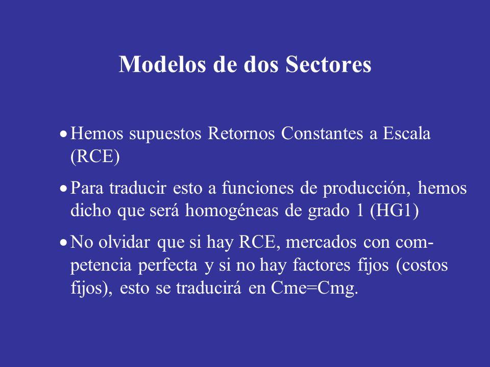 Modelos de dos Sectores Hemos supuestos Retornos Constantes a Escala (RCE) Para traducir esto a funciones de producción, hemos dicho que será homogéne